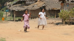 Burmese Children Running And Playing In The Village Stock Footage