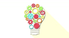 light bulb with gears motion idea 4k seamless loopable background animation - stock footage