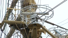 Tall ship foremast with navigation system close up Stock Footage