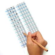 Answer sheet test score with pencil Stock Photos