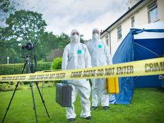 Forensic scientists behind police tape at crime scene Kuvituskuvat