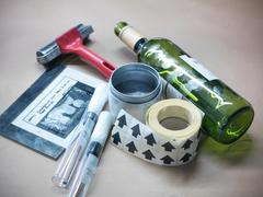 Close up of forensic science evidence and tools from crime scene - stock photo