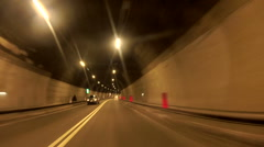 Car driving in the tunnel Stock Footage
