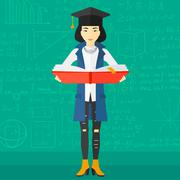 Stock Illustration of Woman in graduation cap holding book