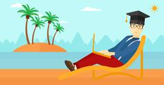 Graduate lying on chaise lounge with laptop - stock illustration