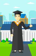 Graduate showing thumb up sign - stock illustration