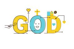 God word design - stock illustration