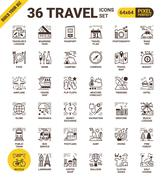 Travel pixel perfect icons - stock illustration