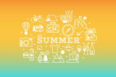 Summer travel icon concept illustration - stock illustration