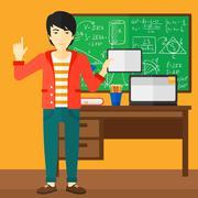 Man holding tablet computer Stock Illustration