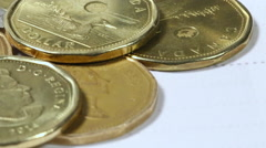 Macro shot of Canadian Currency - Loonies and Coins Stock Footage
