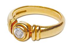Gold ring with diamond Stock Photos