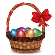 Basket with Colorful Eggs Stock Illustration