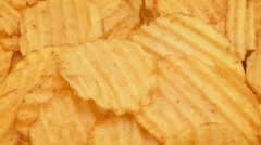 Crinkle Cut Potato Chips Rotating Stock Footage