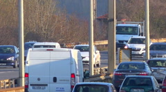 Fixed speed camera and traffic on highway in France Stock Footage