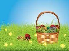 Easter Basket on Lawn Stock Illustration