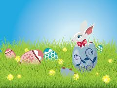 Easter Bunny and Grass Field Stock Illustration
