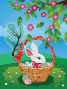 Easter Bunny with Eggs in the Basket Stock Illustration