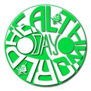 World Health Day. Hand lettering. Yin Yang symbol. Stock Illustration