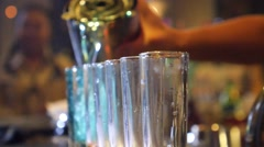 Alcoholic Shots with Colorful Drinks at Party in a Nightclub Stock Footage