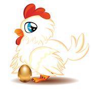 Hen with Golden Egg - stock illustration
