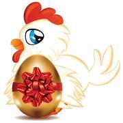 Hen with Golden Egg Stock Illustration