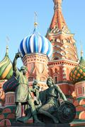 blessed basil cathedral and Statue of Minin and Pozharsky - stock photo