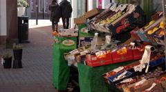 Penrith England street outdoors fruit market 4K Stock Footage