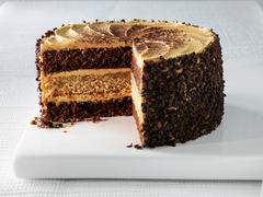 Plate of cappuccino layer cake Stock Photos