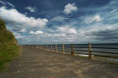 Wooden posts on paved coastal road - stock photo