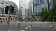 Bank street with Canary Wharf station in London Stock Footage