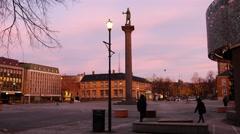 View on center of Trondheim, Norway, establishing shot Stock Footage