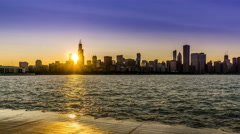 Stock Video Footage of At sunset,the Sears Tower and Chicago skyline, Chicago, USA