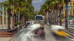 Barcelona traffic timelapse. View seen from the Columbus Column. Passeig De Stock Footage