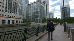 People walking by the Middle Dock in London Stock Footage