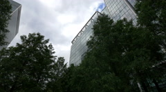 Low angle view of office buildings seen from a park in London - stock footage