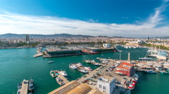 Marina and city skyline of Barcelona from cable car timelapse hyperlapse - stock footage