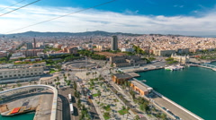 Marina and city skyline of Barcelona from cable car timelapse hyperlapse Stock Footage