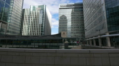 View of Canary Wharf glass towers in London Stock Footage