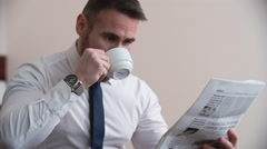 Reading Morning Newspaper Stock Footage