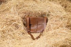 leather bag in the hay - stock photo