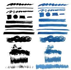 Brush Stroke Collection . Grunge Brush Stroke . Vector Brush Stroke . Distressed Stock Illustration