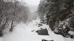 Movie winter snowstorm in the mountains of the Central Caucasus. - stock footage