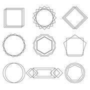 Mono line frames elegant design elements badges, vignettes vector Stock Illustration