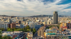 Panorama view of Barcelona city from Montjuic timelapse in cloudy day. Catalonia Stock Footage