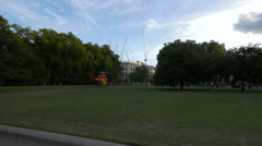 Ambulance helicopter in the park next to Buckingham Palace in London - stock footage