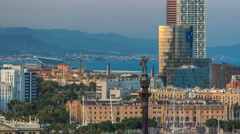 Panoramic view of Barcelona city from the mountain Montjuic timelapse Stock Footage