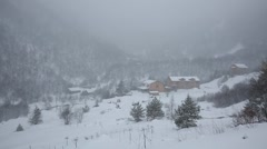 Movie winter snowstorm in the mountains of the Central Caucasus. Stock Footage
