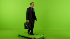 Businessman front walking breifcase greenscreen 45 4K Stock Footage