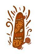 Skateboard inspirational lettering - stock illustration